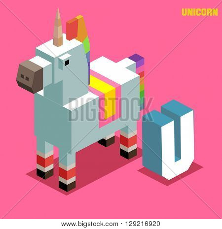 U for Unicorn, Animal Alphabet collection. vector illustration