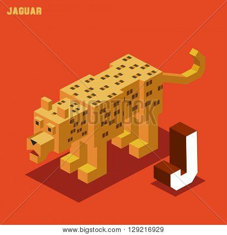 J for Jaguar. Animal Alphabet collection. vector illustration