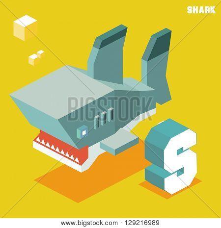 S for Shark, Animal Alphabet collection. vector illustration