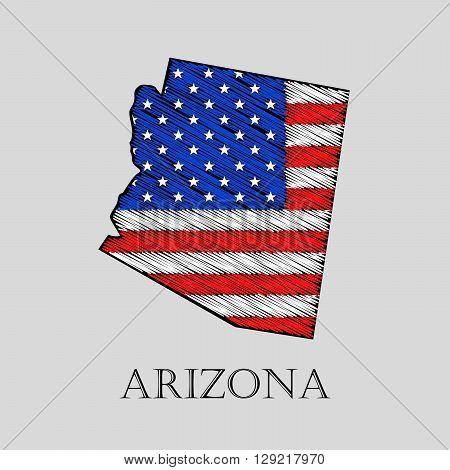 State Arizona in scribble style - vector illustration. Abstract flat map of Arizona with the imposition of US flag.