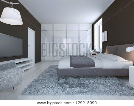 Spacious bedroom minimalist style. Dark brown walls dressed double bed and large closet with sliding doors. 3D render