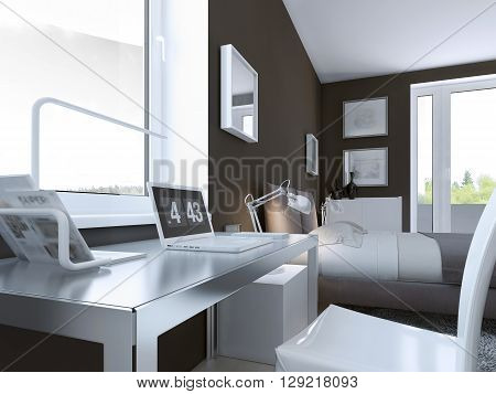 Shiny table in contemporary bedroom with taupe color walls and elegant furniture. 3D render