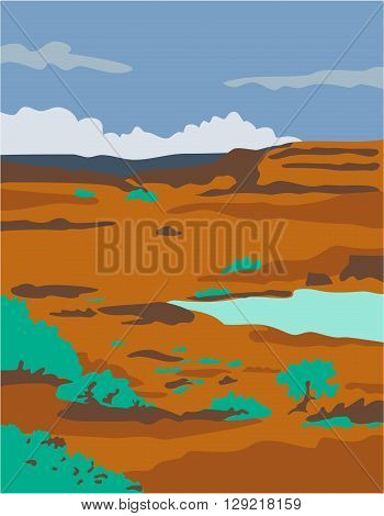 WPA style illustration of a columbian basin desert or arid steppe with water basin lake scenery set inside rectangle shape.