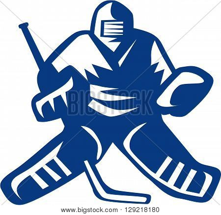 Illustration of a ice hockey goalie wearing helmet holding hockey stick viewed from front set on isolated white background done in retro style.