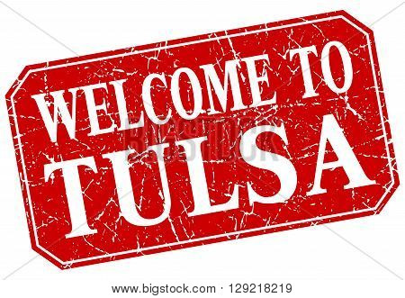 welcome to Tulsa red square grunge stamp
