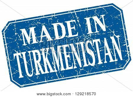 made in Turkmenistan blue square grunge stamp