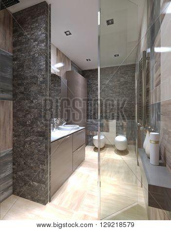 Panoramic view of contemporary bathroom. Glass shower door tiled walls light beige colored flooring. 3D render