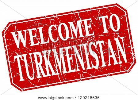welcome to Turkmenistan red square grunge stamp