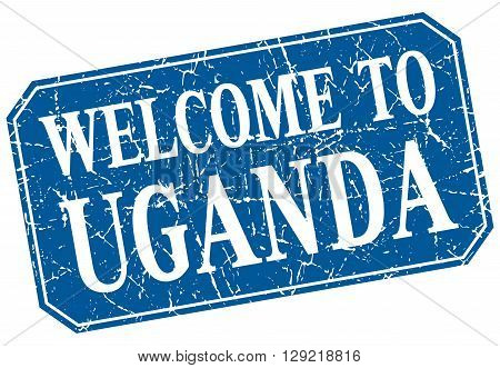 welcome to Uganda blue square grunge stamp