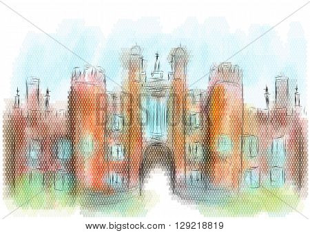 hampton court on multicolor background. 10 EPS
