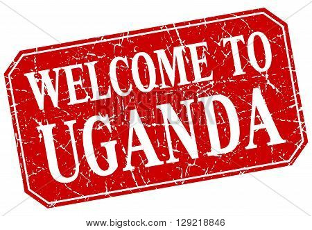 welcome to Uganda red square grunge stamp