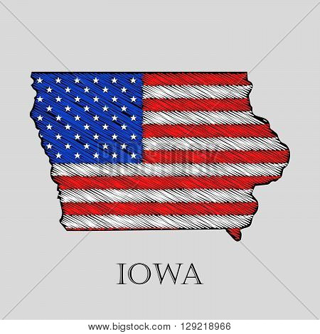 State Iowa in scribble style - vector illustration. Abstract flat map of Iowa with the imposition of US flag.