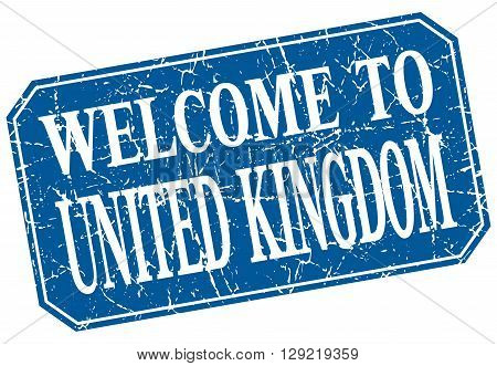 welcome to United Kingdom blue square grunge stamp