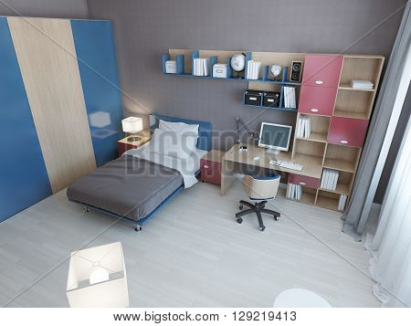 Idea of children modern bedroom. Multi colored furniture in blue and red colors single bed work area and large closet. 3D render