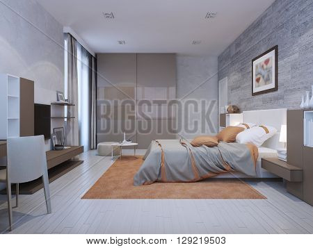 Bedroom art deco style in grey colors with orange accents. Floor to ceiling closet with glossy sliding doors. 3D render
