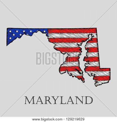 State Maryland in scribble style - vector illustration. Abstract flat map of Maryland with the imposition of US flag.