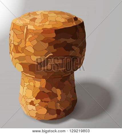 champagne cork is casting a shadow in the right on a white background