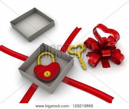 Open gift box with padlock and key in the form of heart. Isolated. 3D Illustration