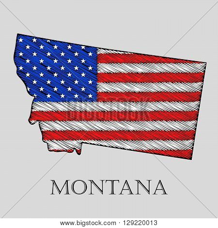 State Montana in scribble style - vector illustration. Abstract flat map of Montana with the imposition of US flag.