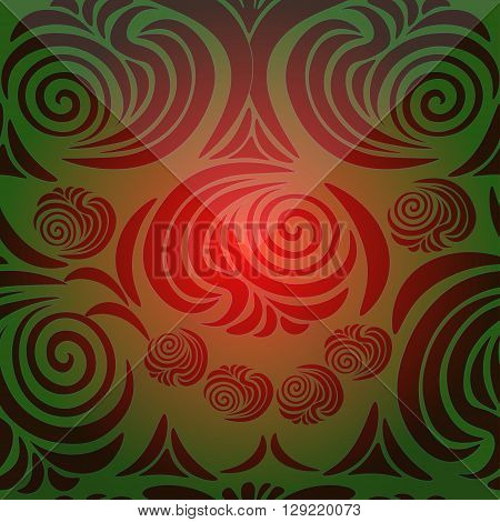 floral pattern with brink red and green vector illustration