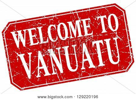 welcome to Vanuatu red square grunge stamp
