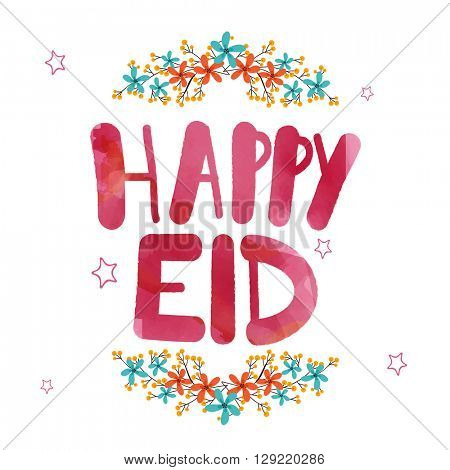 Stylish text Happy Eid made by watercolor on colourful flowers decorated background for Muslim Community Festival celebration.