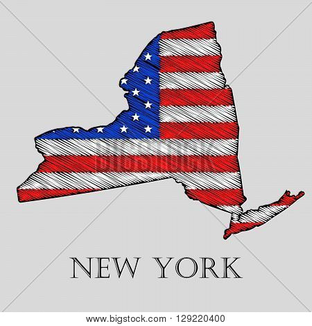 State New York in scribble style - vector illustration. Abstract flat map of New York with the imposition of US flag.