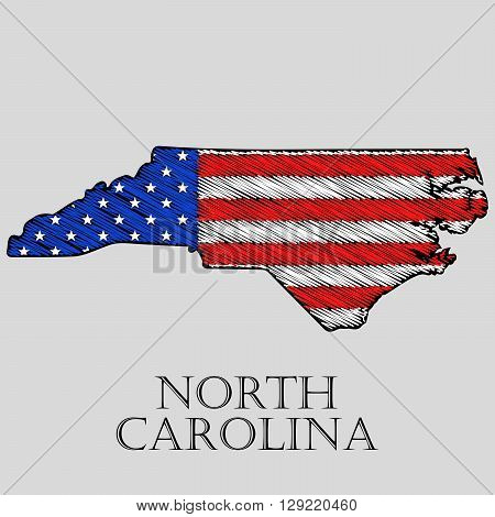 State North Carolina in scribble style - vector illustration. Abstract flat map of North Carolina with the imposition of US flag.