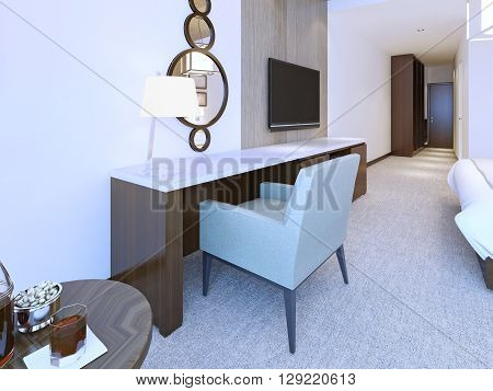Modern dresser minimalist style in bright hotel room. Combined round mirror and table lamp . 3D render