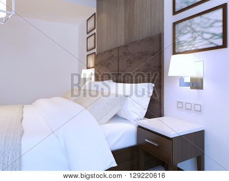Dressed double bed in modern bedroom with white theme brown furniture. 3D render