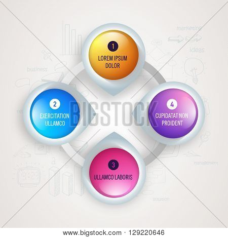 Creative glossy infographic elements in pointer shape for Business.