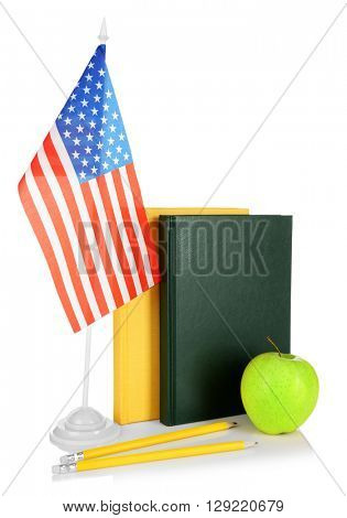 USA flag and books on white background