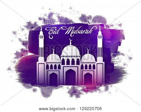 Muslim Community Festival, Eid Mubarak celebration with creative Mosque on purple paint stroke background.
