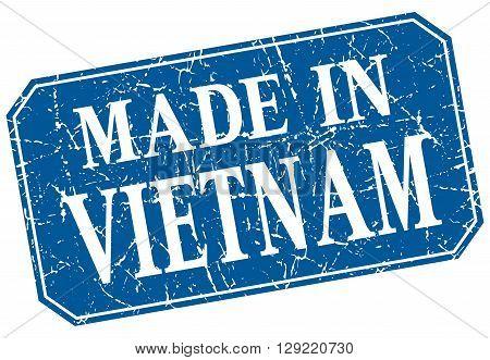 made in Vietnam blue square grunge stamp