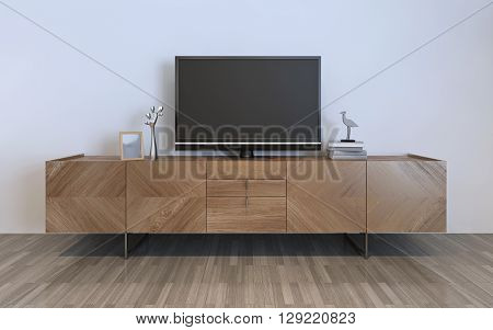 TV cabinet with plasma and decorations brown ikea cabinet with silver decorations and frame on it. 3D render