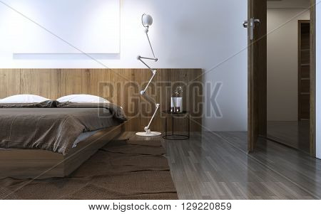 Contemporary bedroom idea in brown color. Wall wooden decorations behind bed crumpled brown carpet. 3D render