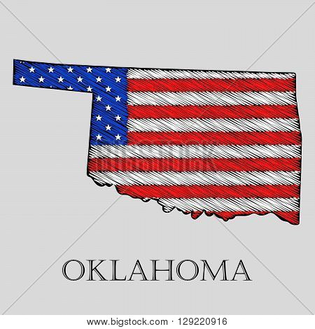 State Oklahoma in scribble style - vector illustration. Abstract flat map of Oklahoma with the imposition of US flag.