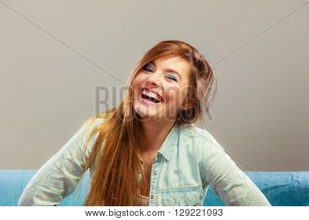 Laughing Smiling Woman Winking.