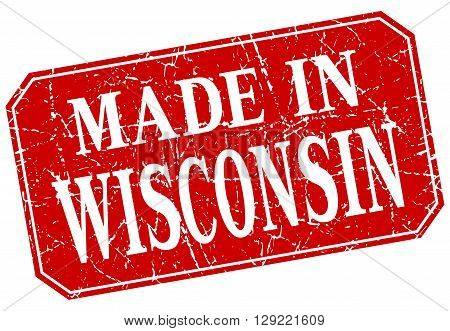 made in Wisconsin red square grunge stamp