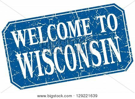 welcome to Wisconsin blue square grunge stamp