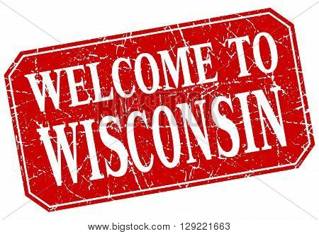welcome to Wisconsin red square grunge stamp