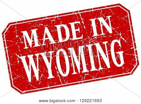 made in Wyoming red square grunge stamp