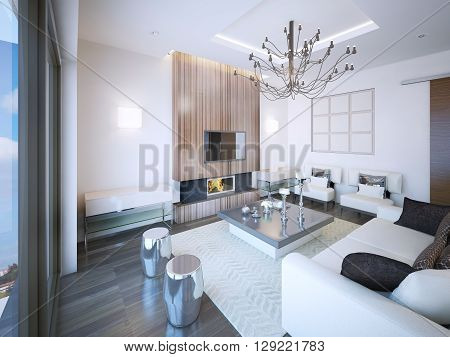 Living room art deco style with fireplace. Unusual furniture made of soft material low table. Silver color in room decorations. 3D render