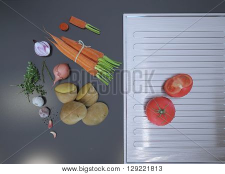 Fresh sliced vegetables lying on a gray table top. 3D render