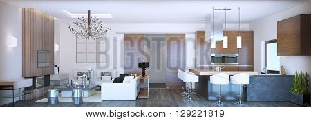 Panoramic view on modern studio. White walls and mixed brown and grey furniture dark laminate flooring. 3D render