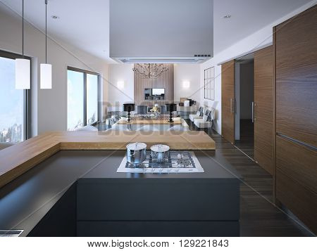 Idea of studio apartments in brown and white colors grey colored L-shaped cabinets of modern kitchen. 3D render