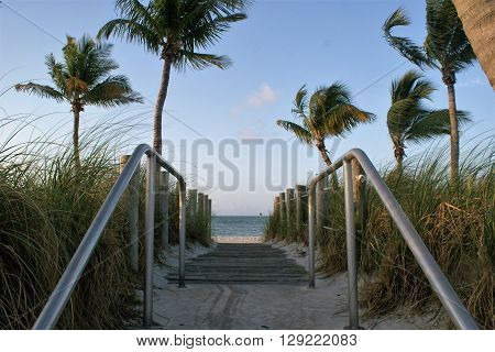 Entrance to Smathers Beach in Key West, Florida.