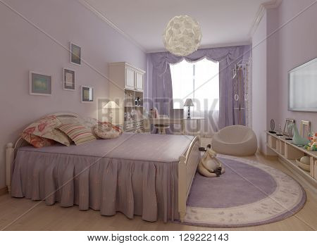 Bedroom in provence style trend. 3d render