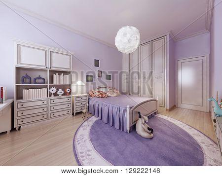 Bright teenagers bedroom interior design. 3D render
