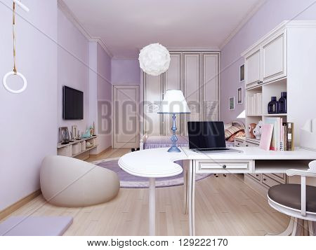 Idea of provence bedroom with working area. Bright solution to connect the living and working areas. The walls are made in light purple tone. High wardrobe visually make the room higher. 3d render